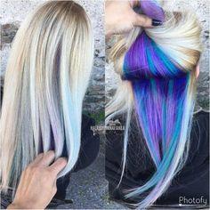 Peek a boo hair Peekaboo Unicorn hair Unicorn roots Balayage Blonde (Hidden Dyed Hair) Hair Color Blue, Cool Hair Color, Purple Hair, Blonde Hair With Color, Burgundy Hair, Purple Ombre, Brown Hair, Hair Color 2018, Gold Blonde