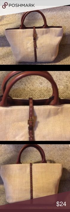 """Adrienne Vittadini Beige and Leather Puese Beige purse with leather snap closure, leather bottom, handle, and inside trim. The inside is brown polyester with Adrienne Vittadini signature throughout with a zippered pocket on one side and a zippered middle section that separates the two side. 14""""x10""""x4 1/2"""" wide bottom. NWOT Adrienne Vittadini Bags Satchels"""