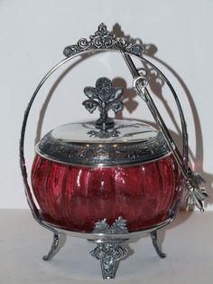 Beautiful Antique Cranberry Crackle Glass Pickle Castor