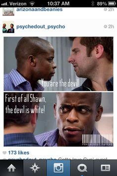 Shawn and Gus Shawn And Gus, Shawn Spencer, Psych Quotes, Funny Quotes, Mon Son, Real Detective, Psych Tv, Classic Memes, Tv Land