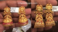 Latest gold lakshmi devi design temple jhumkas adorned with pota rubies and emeralds from PSJ Jewellers. Gold Temple Jewellery, Gold Jewellery Design, Gold Jewelry, India Jewelry, Simple Jewelry, Gold Jhumka Earrings, Gold Earrings Designs, Jhumka Designs, Gold Necklace