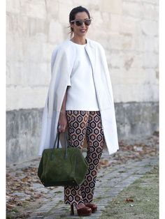 Patterned pants with simple clean line solid top