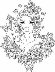Beautiful Adult Coloring Page - Lady with Butterflies