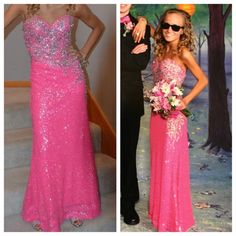 Prom dress! Pink, sequence, floor length, prom dress, only worn once! Dresses