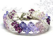 Swarovski Crystal Bracelet, Purple Shade Crystal Bracelet by CandyBead