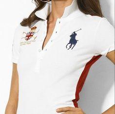 Ralph Lauren Women s Big Pony Crested Polo Shirt White larger image Polo  Shirt White, Polo 73fc78f4085c