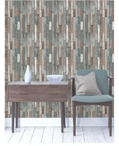 This fantastically realistic Wood Planks Wallpaper will make a great feature in any room! The design is based on a rustic reclaimed wood effect in varying shades of blue and brown and is printed on to luxury paper Reclaimed Wood Wallpaper, Reclaimed Wood Benches, Reclaimed Wood Kitchen, Wood Effect Wallpaper, Wood Plank Wallpaper, Wallpaper Decor, Print Wallpaper, Wood Plank Shelves, Wood Planks