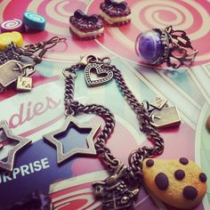 Mad Hatter Tea Party Collection antique bracelet and earings Alice in Wonderland style polymer clay charms