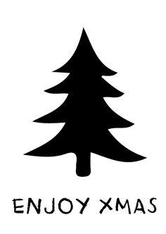 """Kerstkaart zwart wit met de quote """"Enjoy xmas"""" van Studio Inktvis. Zwart wit is de trend van 2014."""