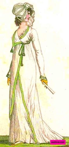 1800 July.  Half Neglige, French.  White flowing Empire style dress with crossover front with green edging and tasseled tie, matching white and green hat,  yellow gloves, and a fan.  Fashion Plate via Costume Parisienne.  suzilove.com