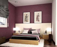 chambre adulte avec déco murale en violet