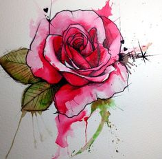 Rose Watercolor Tattoo - Victoroctaviano