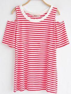 Red Strip Round Neck Split Sleeve T-shirt