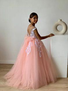 Flower girl dress lace Tulle girl dress Rose flower girl   Etsy