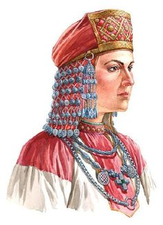 Slavic woman in headwear with bell-like suspension and mesh fabric underneath. On materials of Old Ryazan and Novgorod treasures, XII century.
