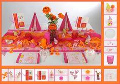Tischdeko Taufe 11 in Pink/Orange als Mustertisch - Tafeldeko.de