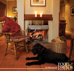 This cute pooch has the right idea – warming himself beside a roaring fire in a cracking pub – The Blowing Stone, Kingston Lisle in Oxfordshire