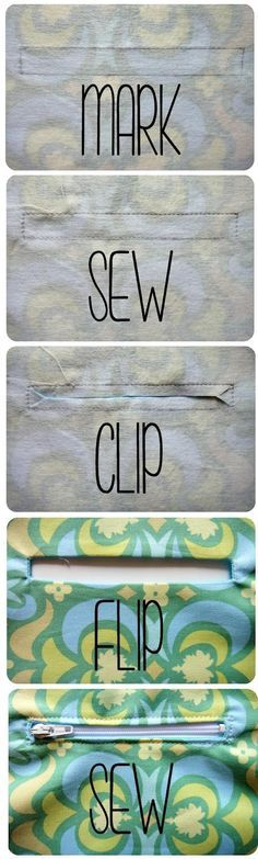 """How to sew a pocket zipper- I only recently started installing zippers this way but I think I like it. It can be really useful for making wallets & bags. First start by applying interfacing to the outer fabric where you will install the zipper. Then mark a rectangle where you want the zipper to be. The zipper I used for this is 4"""" & I marked a rectangle that is 4""""x0.5"""".  Then place the outer & lining fabric right sides together, & sew around the rectangle using a smaller stitch. MORE . . ."""