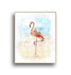 Modern Beach Art, Pink Flamingo ,Digital watercolor, Printable Wall Art, Coastal Decor, Instant Digital Download, Sand, Ocean Waterl Beach Art, Pink Flamingos, Coastal Decor, Printing Services, Printable Wall Art, Ocean, Birds, Colours, Watercolor