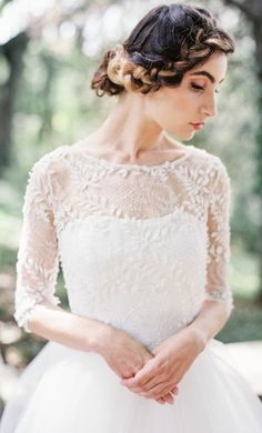 Featured Photographer: Orange Photographie; Wedding dress and hairstyle idea