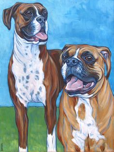 Oscar and Lola the Boxer Dogs by Bethany.