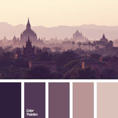 Monochrome purple color palette. Paintings, reproductions or photos in this color range will fit well into interior of a study, a library or a living room decorated in pastel hues. Combination of shades of wisteria and eggplant color will help you concentrate on work, reading or serious conversation.