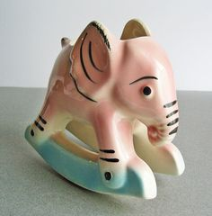 Vintage Pink Elephant Rocking Planter