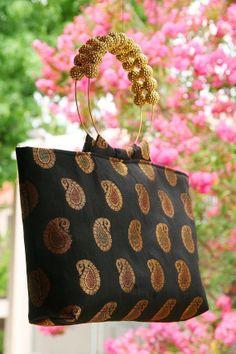 Iconic Black Brocade Bag by Bagoholics on Etsy, $40.00