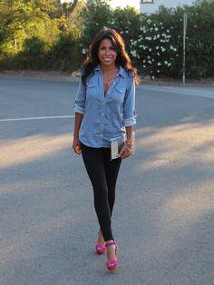 Chambray shirt, Black leggings, Pink shoes - Semi formal Outfit