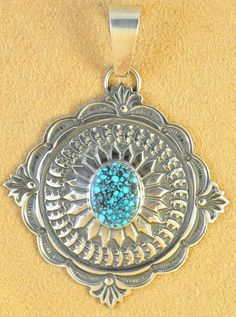 Sterling Silver Navajo Concho Pendant Gem Kingman Turquoise by Sunshine Reeves | eBay