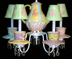 Teacups and Teapot Chandelier by whimsicalcollections on Etsy, $375.00