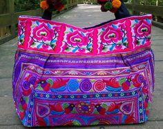 Embroidery Boho Bag Hmong Tote Bag Ethnic Shoulder by pasaboho