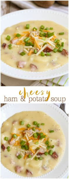 and Potato Soup This Cheesy Ham and Potato Soup is simple and DELICIOUS! It's one of our new favorite soup recipes. { }This Cheesy Ham and Potato Soup is simple and DELICIOUS! It's one of our new favorite soup recipes. Ham And Potato Soup, Ham Soup, Ham And Potato Recipes, Recipes With Ham, Ham Bone Recipes, Ham Steak Recipes, Ham And Potato Casserole, Ham Bone Soup, Celery Recipes