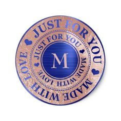 Made With Love Monogram Rose Gold Cobalt Blue Classic Round Sticker - metal style gift ideas unique diy personalize