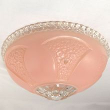SOLD! Art Deco Frosted Pink Ceiling Light Fixture Globe Shade
