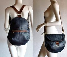 double use messenger/ backpack blue with brown by vadenuevocr - StyleSays Leather Gifts, Leather Bags Handmade, Messenger Backpack, Leather Backpack, Backpack Pattern, Convertible Backpack, Recycle Jeans, African Wear, Purses And Bags