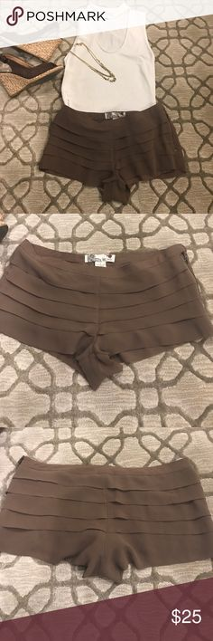 🔴SALE🔴Brown shorts with side zipper Only worn once!! Brown shorts with side zipper super cute! Flying Tomato Shorts