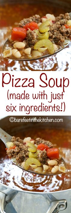 Pizza Soup is an instant favorite with the whole family! get the recipe at barefeetinthekitchen.com