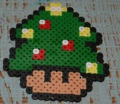 Perler Bead Mario Mushroom Christmas Tree by The Pixel Factory