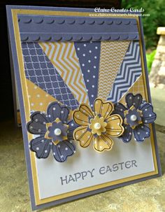 handmade card ... Happy Easter ... blue, yellow, white ... luv the use of the Stampin'Up! printed papers for the sun rays and punched flowers ...