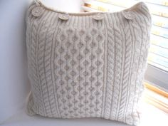 Recycled Wool Cushion / Pillow Throw  Knitted by TheFeminineTouch, $60.00