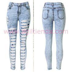 #Sexys #jeans #pantalon #pitillos #cintura alta #rasgados con tejido #vaquero…