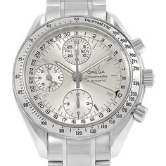 16550 Omega Speedmaster Day Date Chrono Silver Dial Watch 3523.30.00 Card SwissWatchExpo