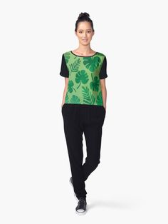 72aea732d16 Tropical Palm Leaves women s t-shirt. Green