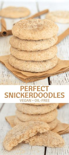 Perfect Vegan Snickerdoodles made with just a few simple ingredients no oil & no special equipment. They come together in under 25 minutes and are super soft-baked puffy buttery cinnamon-y sugary & totally & utterly irresistible! Vegan Treats, Vegan Snacks, Vegan Food, Vegan Dishes, Vegan Dessert Recipes, Cookie Recipes, Best Vegan Desserts, Healthy Deserts, Baking Recipes