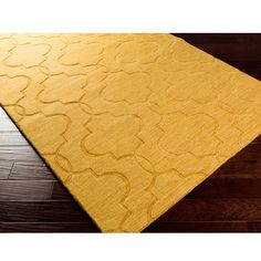 Hand Loomed Sedona Casual Solid Tone-On-Tone Moroccan Trellis Wool Area Rugs (8' x 11') (Gold-(8' x 11')), Gold, Size 8' x 11'