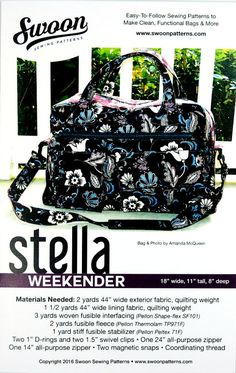 Stella Weekender Bag Pattern by Swoon Sewing at TCSFabrics.com #Swoon…