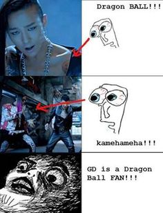 aaah! dragon ball, g-dragon, aaah! This makes him even more awesome, I herd he got it colored again too!