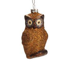 Bronze Glitter Owl Ornament