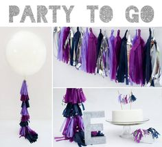 Party to Go, Tissue Tassel Decor Birthday Package with Glitter Letter / etsy party supplies in ORCHID